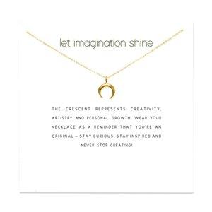 Fashion Crescent Moon Necklace Women Sailor Moon Pendant Clavicle Chain Choker Necklaces Let Imagination Shine Gift Card