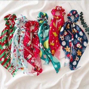 Рождественские женщины для волос для волос DIY лук стримеры волос Scrunchies хвостик шарф дизайнер для волос для волос девочек, аксессуары для волос Xmas Drea 6 Designs DW5721