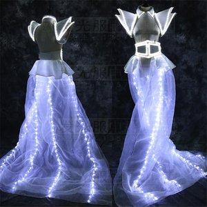 Light Costumes White Ballroom Dance Party Singer Dresses Women Models Show Dj Bar Stage Model Wear Clothes Shoulder Decoration