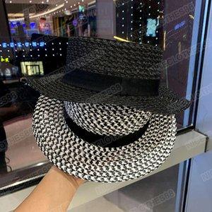 French straw hat women's summer British flat top small fresh sunshade wide brim floppy for women