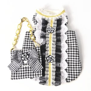 Lace Pet T Shirt Vest Clothes Printed Dogs Dress Sweatshirts Apparel Corgi Teddy Pug Puppy Costume