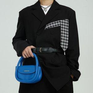 Men Korea Streetwear Fashion Plaid Splice Belt Loose Casual Handsome Suit Blazers Jackets Man Hip Hop Coat Male Men's Suits