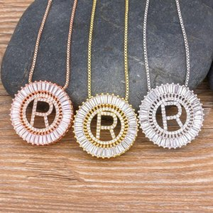 Chains 2021 Luxury A-Z Initials Copper Zircon Steel Color Micro Pave CZ 26 Letters Necklace Charm Family Name Jewelry Gift