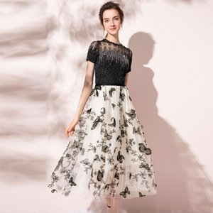 Rhinestones Shiny Knitted Womens Two Piece Sets O-Neck Short Sleeve T shirt + High Waist mesh embroidery butterfly Skirt Sets 210514