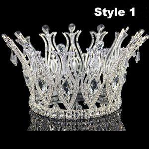 New Silver AB Crystal Bride Tiara For Weeding Rhinestone Crown Bridal Tiaras Head Jewelry Diadem Headbands Wedding Headdress JCI093
