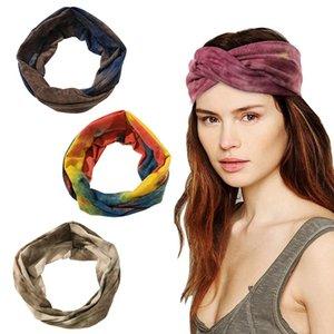 Şapkalar Bantlar Çapraz Düğüm Geniş Bandı Spor Hairband Yıkama Yüz Kravat-Boya Kafa Saç Bandı Düğümlü Elastik Şarap Kırmızı Yeni