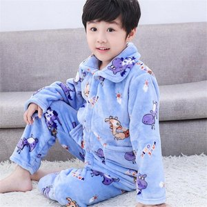 Children's Suit Pajamas Flannel Autumn And Winter Big Children Thickening Boys Girls Long-sleeved Coral Fleece Home Service Clothing Sets