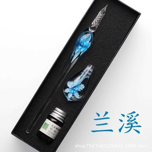Other Pens Art Writing Signatures Calligraphy Decoration Flower Crystal Lampwork Colorful Inks Murano Glass Dip Pen Ink Set with Holder 3MKA