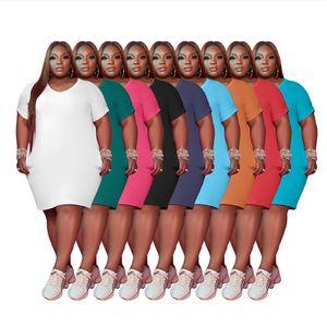 Vestidos de talla de mujer más 4xl 5xl Ropa de verano Casual Color Sólido Duración de la rodilla Duración blanca Mini faldas 5434