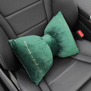 Fashion Bow Car Seat Rest Cushion Headrest Car Neck Pillows Soft Velvet Headrest Neck Pillow Cervical spine protection Cushion