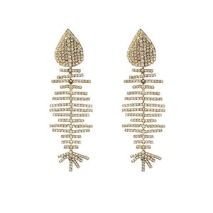 Women's Fashion Jewelry Full of Crystal Earrings Exaggerated Accessories Hot Shiny Rhinestone Fish Bone Charm Pendant Earrings