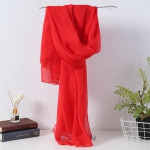 Usine directe vente imitation soie mousseline de mousseline de mousseline de soie couleur femme couleur climatisation châle balle écharpe wholesale