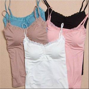 Mujeres tanques de verano cordón acolchado camisola tops bras sin costuras sujetador sólido sólido top tiras de dormir ropa de dormir ropa de noche pijamas suave