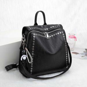 Leather bag women's leisure backpack personalized versatile rivet multifunctional travel
