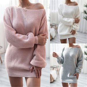 Ladies Slash Neck Sweater Fashion Occident Trend Long Sleeve Knitted Pullover Tops Designer Female Winter New Casual Loose Sweater