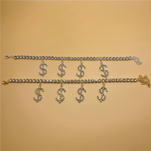 Anklets Boho Style Personality Dollar Sign Rhinestone Anklet Ladies Chain Ankle Summer Bracelet