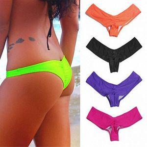 Brand NEW Sexy Brazilian Bikini V-Style Scrunch Ruffle Ruched Thong Bottom Swimwear SML XL b8Fh#