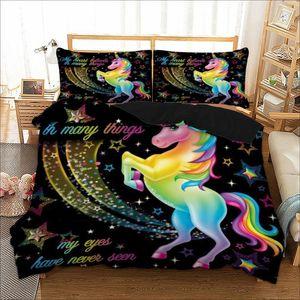 3PCS Cartoon Unicorn Bedding Set Cute Duvet Cover Set for Kids Children Quilt Cover Set Queen King Size