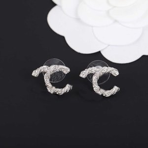 2021 Fashion style Silver Plated stud earring with diamond for women wedding jewelry gift have box stamp PS4145