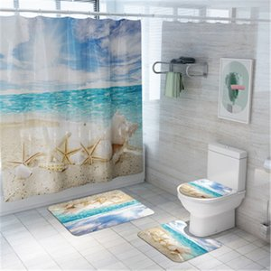 4Pcs set Bathroom Mat Set Anti-slip Seaside Scenery Bath Mat Coral Fleece Shower Curtain Floor Mat Washable Bathroom Toilet Rug 210329