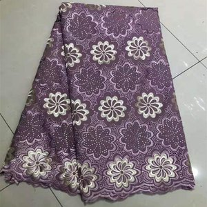 Ribbon Design Breathable African Nigerian George Guipure Lace Fabric With Stones Embroidered Hollow Out Wax For Sewing