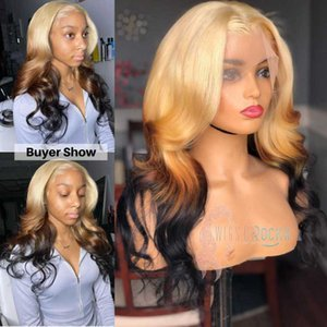 Lace Wigs Ombre Blonde Black Ends Body Wave T Part HD Front Wig Human Hair 150 Density Women