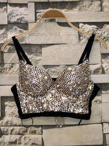 Rhinestone Bead Bustier Corset Pearls Women Tanks Diamond Push Up Night Club Bralette Womens Fashion Bra Cropped Top Plus Size