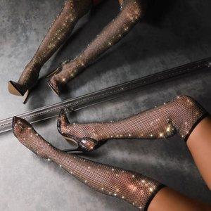 Сапоги женские кристалл многоцветный на колене бедра высокие 12 см каблуки длинные носки загрузки заостренный носок