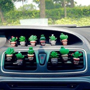 Set of 6pcs Resin Cactus Car Conditioning Vent Perfume Clip Creative Cute Air Freshener Fragrance Decoration Auto Ornaments