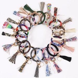 Leather Wrap Tassels Bracelets Keychains Party Supplies Wristle Bracelet Tassel Keychain Round Bangle Key Ring ZYYA960