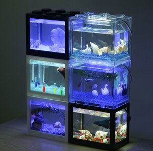 LED 램프 가벼운 USB 미니 수족관 물고기 탱크 멀티 컬러 작은 파충류 애완 동물 상자 홈 오피스 데스크탑 장식