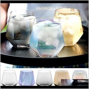 300 ملليلتر زجاج النبيذ نظارات حليب كأس الملونة كريستال الزجاج هندسة سداسية كأس بنوم بنه ويسكي كأس DHD36 ekaod nork5