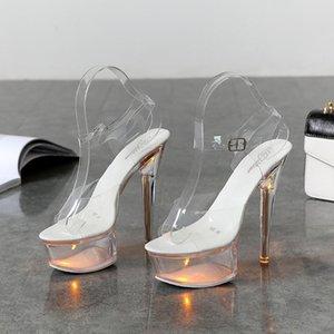 Light Up Glowing Shoes Woman Luminous Clear Sandals Women Platform Shoes Clear High Heel Transparent Stripper Wedding Niokie Blade 2021 Top