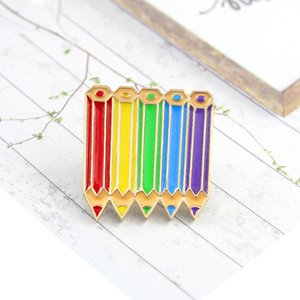 Color pencil purple blue green red yellow personality creative brooch cute cartoon special tide new lapels denim badge C3