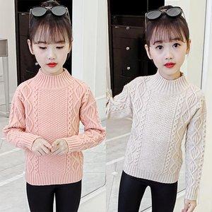 Pullover Girls Sweater Baby's Coat Outwear 2021 Slim Plus Velvet Thicken Warm Winter Autumn Knitting Scoop Jacket Children's Clothing