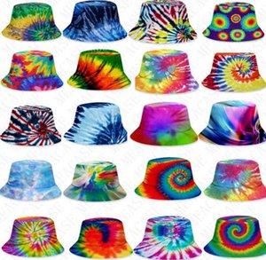 25 스타일 3D 색상 타이 염료 양동이 모자 유니섹스 그라디언트 플랫 탑 Sunhat 패션 야외 힙합 모자 성인 키즈 비치 태양 모자