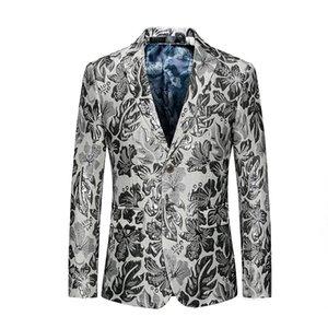 Costumes pour hommes Blazers 3D Puff Jaquard Blazer Silver Floral Slim Masculino Luxury Hommes Style Pal Club Club Veste Veste Asiatique 6XL