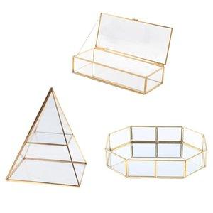 Treumbet Case Case Shinnie Женщины Ювелирные Изделия Стенд Pyramid Чистый Стеклянный Коробка Ювелирные изделия Дисплей Тщеслаивающий Лоток для Девочкой Пакеты, Сумки