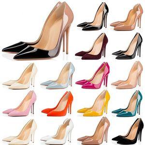 Yeni Pompalar Marka Kadınlar Yüksek Topuk Ayakkabı Kırmızı Alt Siyah / Çıplak Patent Gerçek Deri Kırmızı Düğün Ayakkabı Ince Topuk 34-44 Toz Çanta Ile