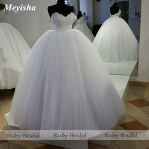ZJ9229 2021 Ruby Princess Ball Wedding Dress Bridal Gown Off Shoulder White Tulle Appliques Lace-Up Vestido De Novia