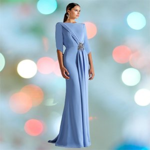 Bateau Mermaid Long Sleeves Formal Mother Of The Bride Dresses Prom Evening Gowns Plus Size Customized Dress
