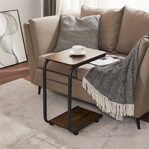 Bed Side Coffee Tea End Table Living Room Furniture with Rolling Wheels C Shaped For Bedroom Decoration
