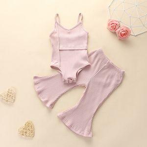 Детская одежда Детская одежда наборы одежды для девочек лето сплошной цвет артикул артикул PIT Rompers Flaring брюки костюмы ребенка без рукавов костюм костюма без рукавов 410 N2