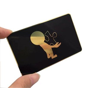 kardart 100pcs lot Luxury design plated gold shiny mirror effect screen printing black color metal business cards 85*54mm 0.5mm thickness