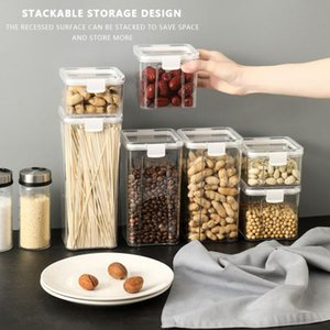 Transparent Sealed Kitchen Storage Box Cover Canister Fresh Clear Container Grain Organizer Tank 460 700 1300 1800ml Bottles & Jar Jars