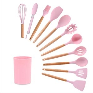 Silicone Cooking Utensils Set Non-Stick Spatula Shovel Wooden Handle cuisine Tools sheath With Storage Box Kitchen Tool Accessories table mat