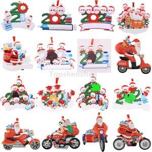 Actualizado 2021 adornos navideños decoraciones de cuarentena sobreviviente resina ornamento creativo juguetes regalo árbol decoración para la máscara muñeco de nieve mano saniciada familia nombre de bricolaje