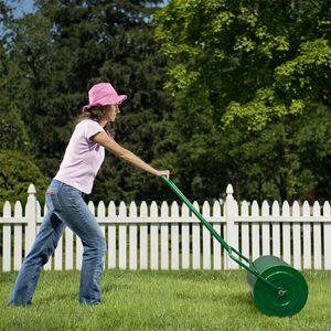 24in газон роликовый железо цилиндрический заполненный толчок для садовых инструментов зеленый