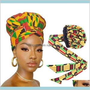 Uzun şerit wrap ile Afrika baskı saten kaputu çift katmanlı headwrap ankara desen kadın saç kapağı büyük boy saç wrap cap aj5up lwu4y