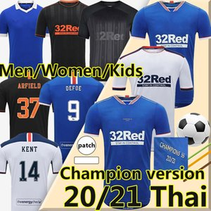 20/21 Glasgow Rangers Soccer Jerseys Champions Version Retro Spezielle Version Football Hemden Defoe Hagi Morelos Kent Herren Kit Kid Damen MAILTOT DE FUIGHT Uniformen